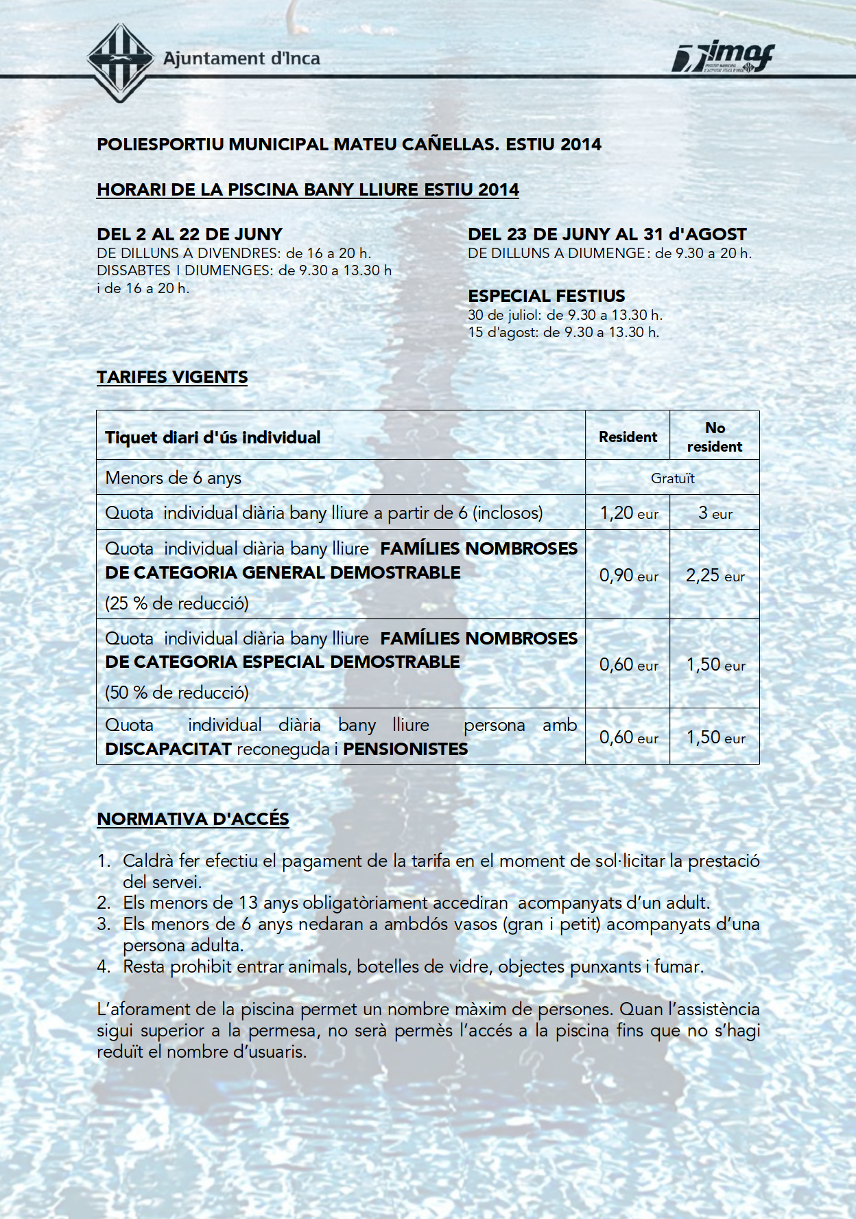 Horario y tarifas de la piscina municipal for Horario piscina alaquas